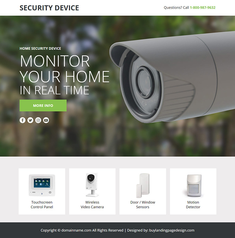 home security device responsive lead funnel design