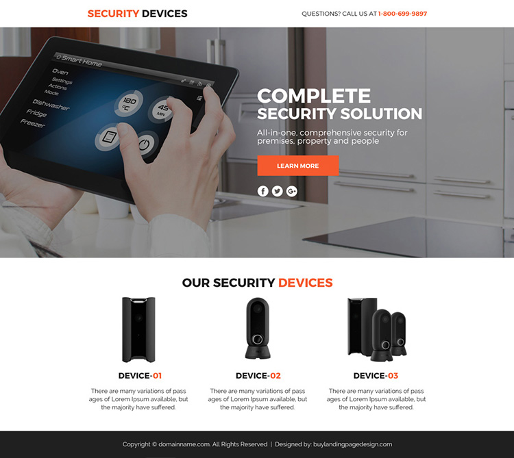 security device marketing funnel responsive landing page design