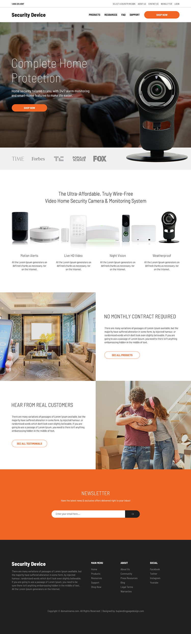 security products responsive website design