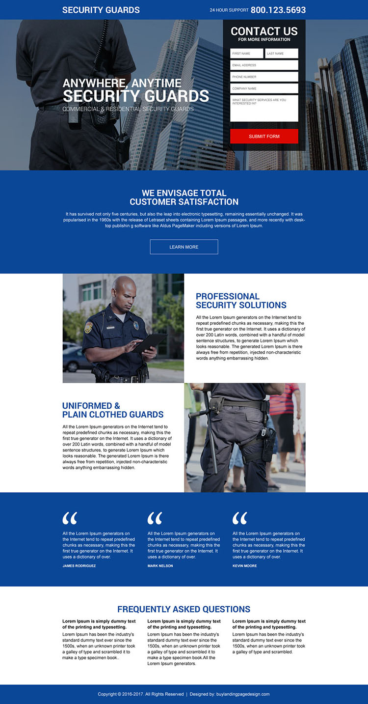 security guard agency lead capturing landing page