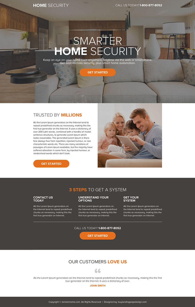 smart home security call to action landing page design