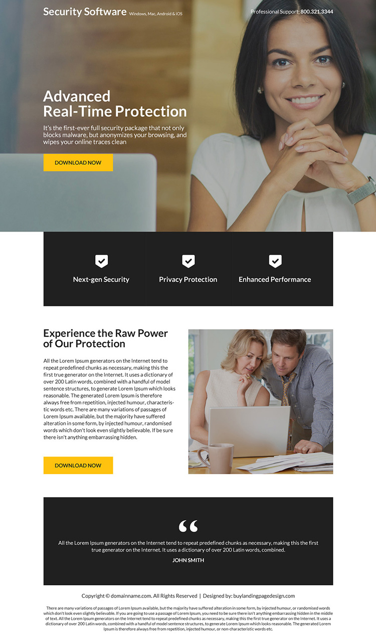 security software download mini landing page design