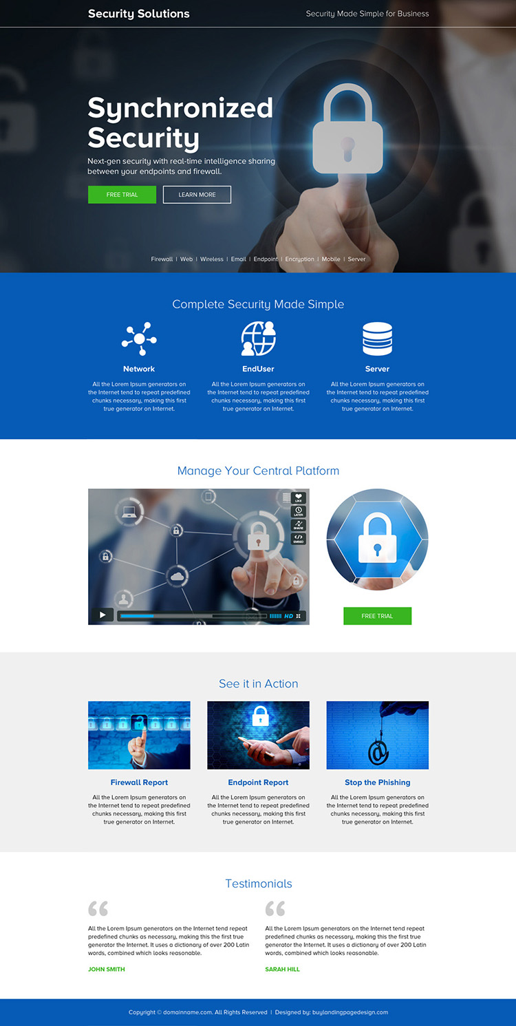 responsive security solution for business landing page