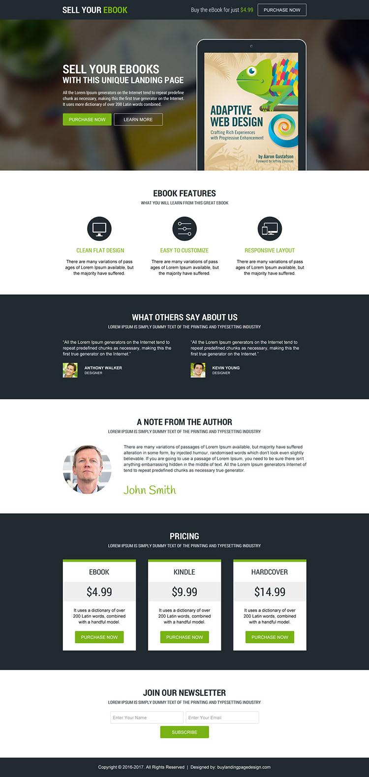 responsive ebook selling modern landing page design