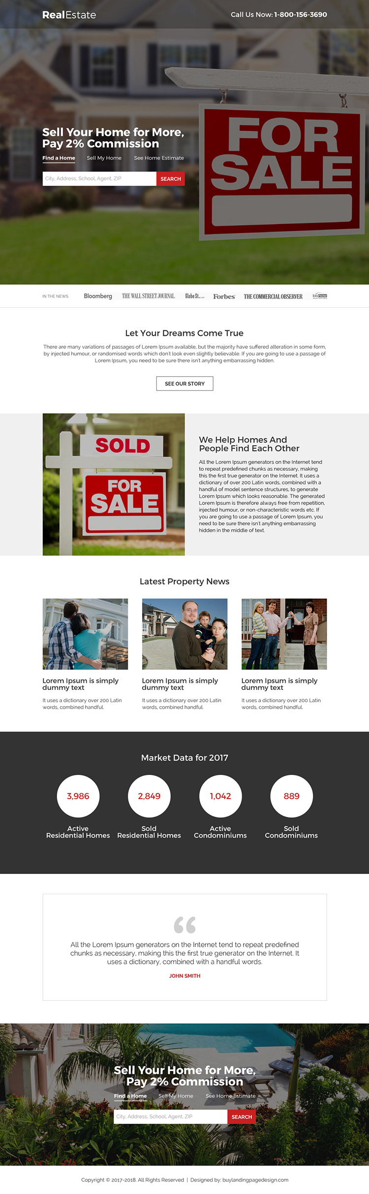 minimal real estate property listing landing page design