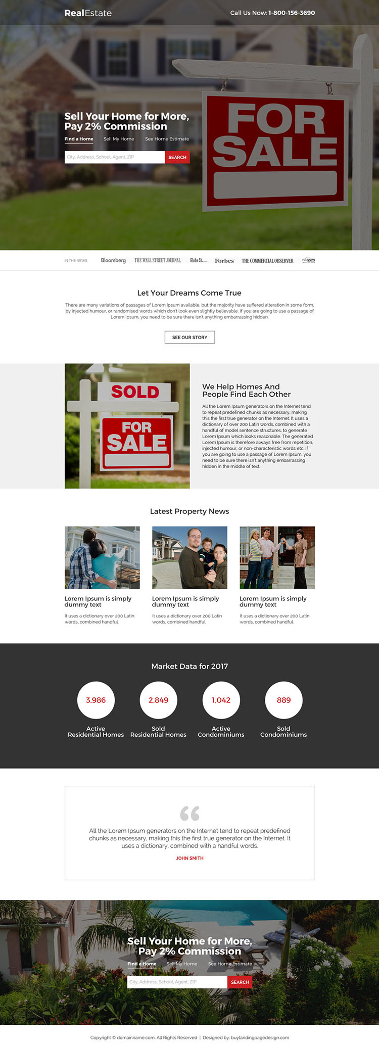 real estate for sale search responsive landing page design