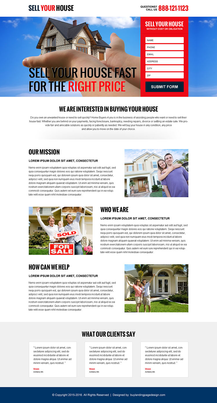 sell your house fast lead capture landing page design
