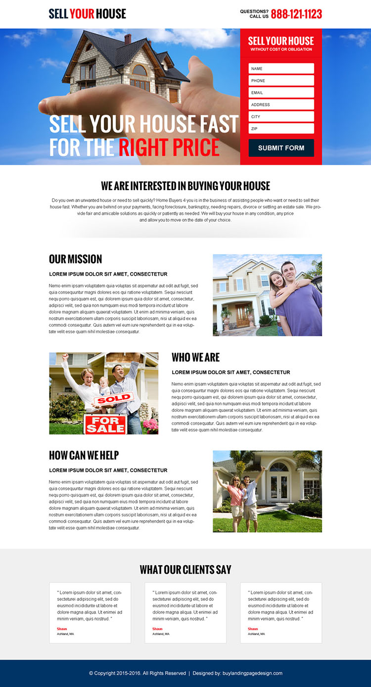 sell your house at the right price converting responsive landing page design