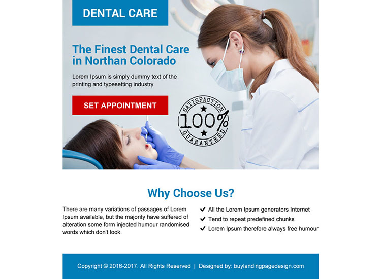 dental care call to action ppv landing page design
