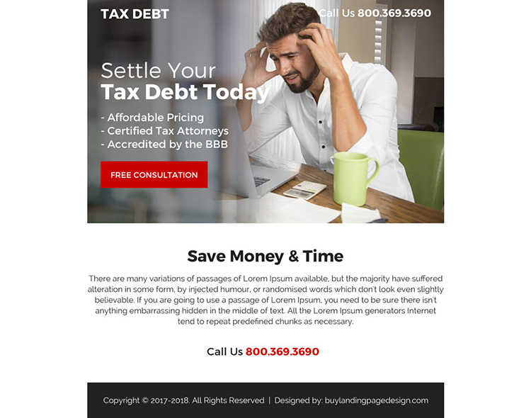 tax debt resolution ppv landing page design