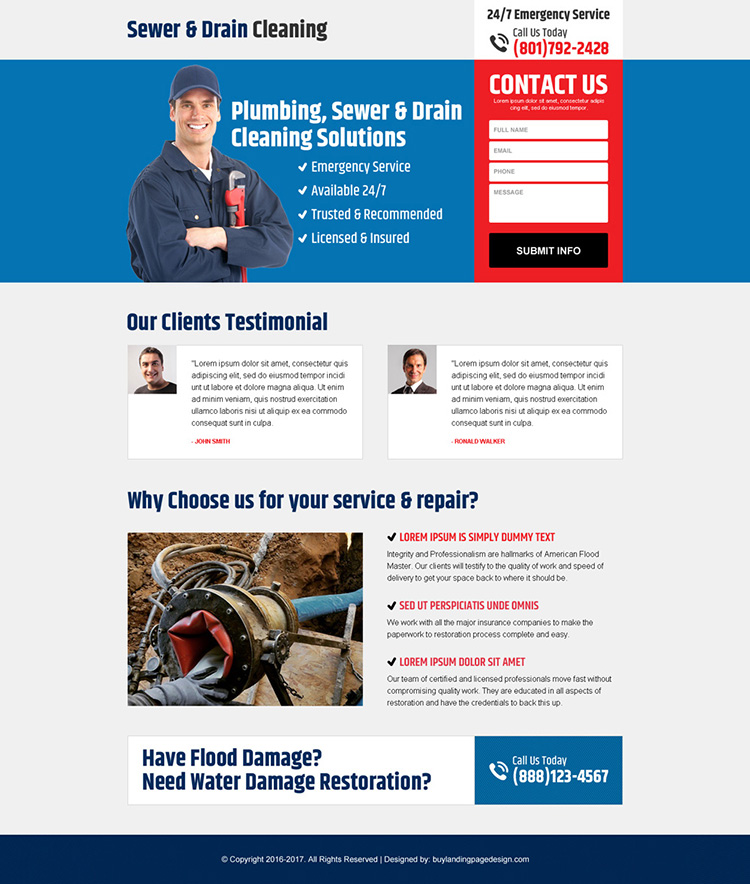 sewer and drain cleaning minimal landing page design