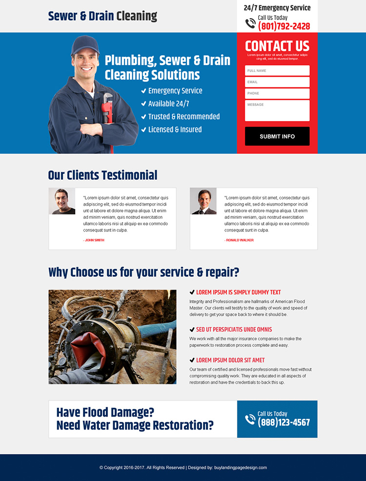 sewer and drain cleaning responsive landing page design