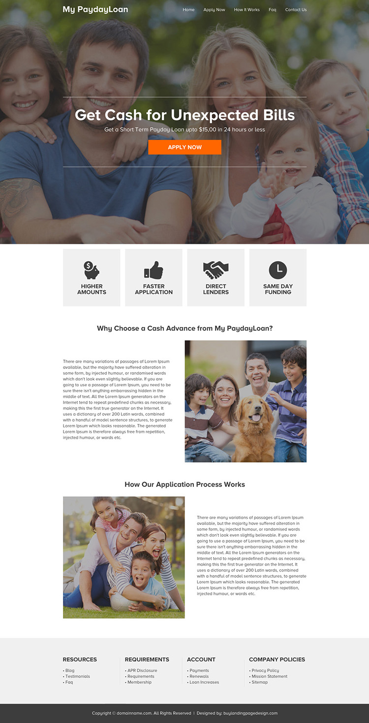 responsive payday loan online application website design