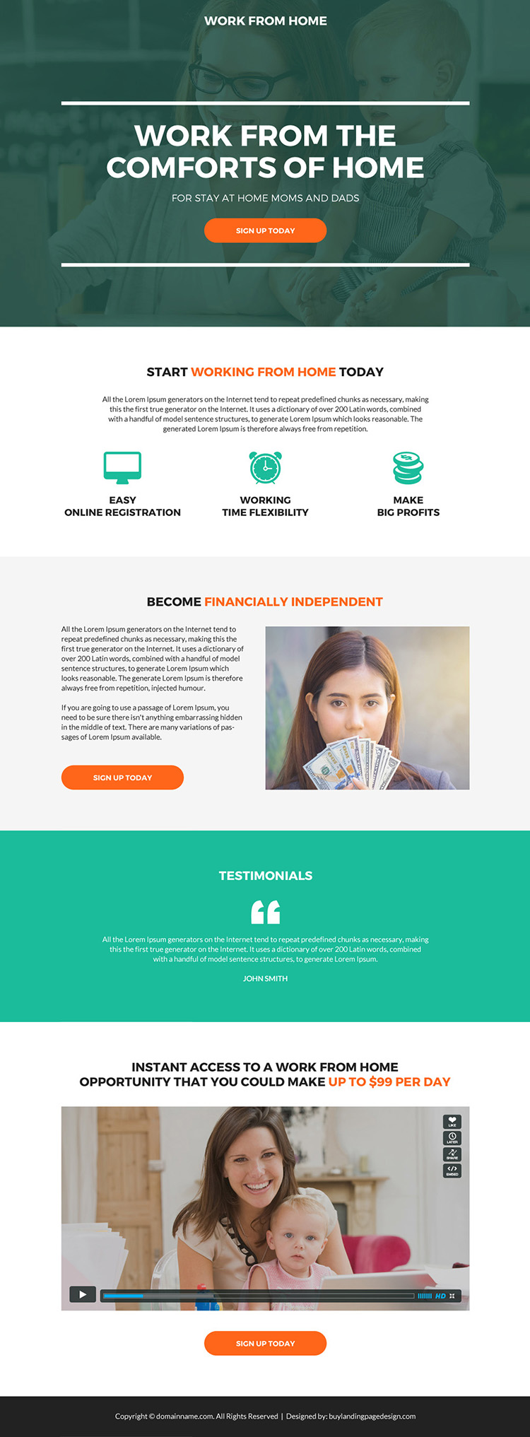 work from home sign up capturing modern landing page