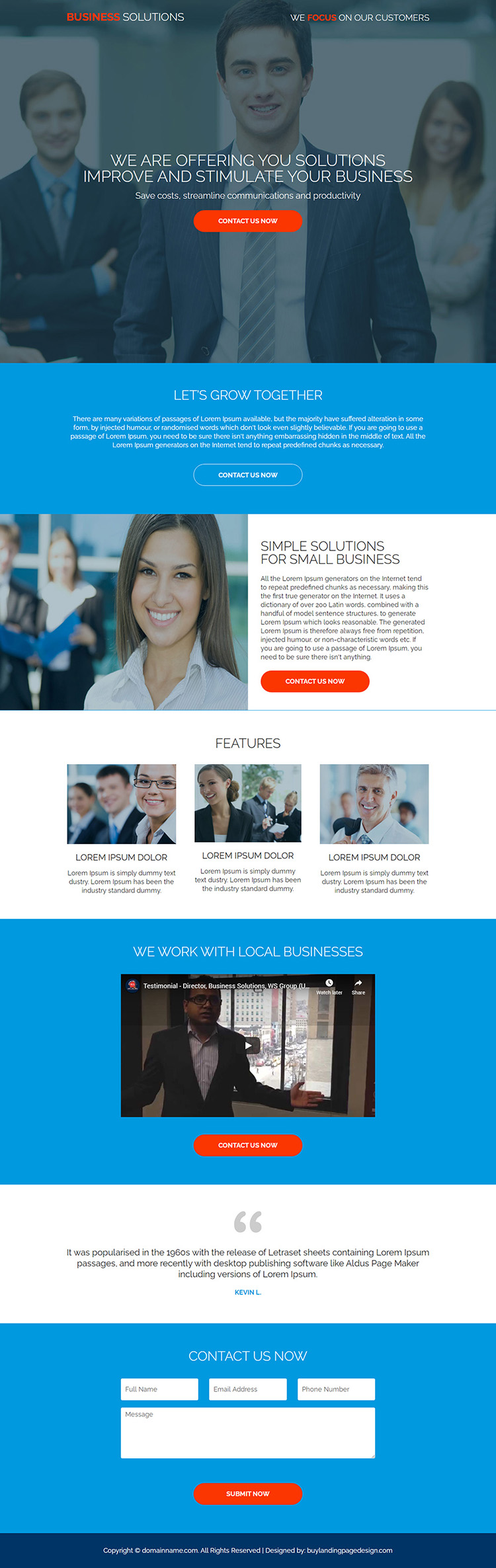 small business solutions responsive landing page designs