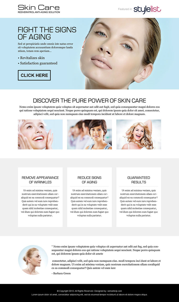 fight the signs of ageing call to action landing page design