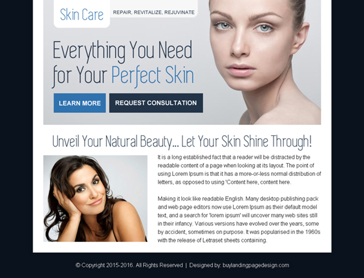 skin care consultation ppv landing page design