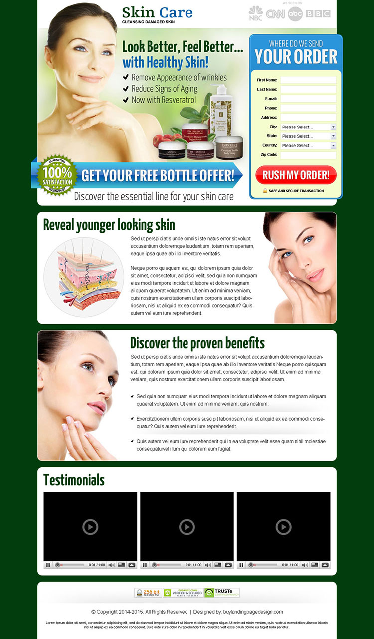 skin care lead capture landing page design templates to increase sales of your skin care product