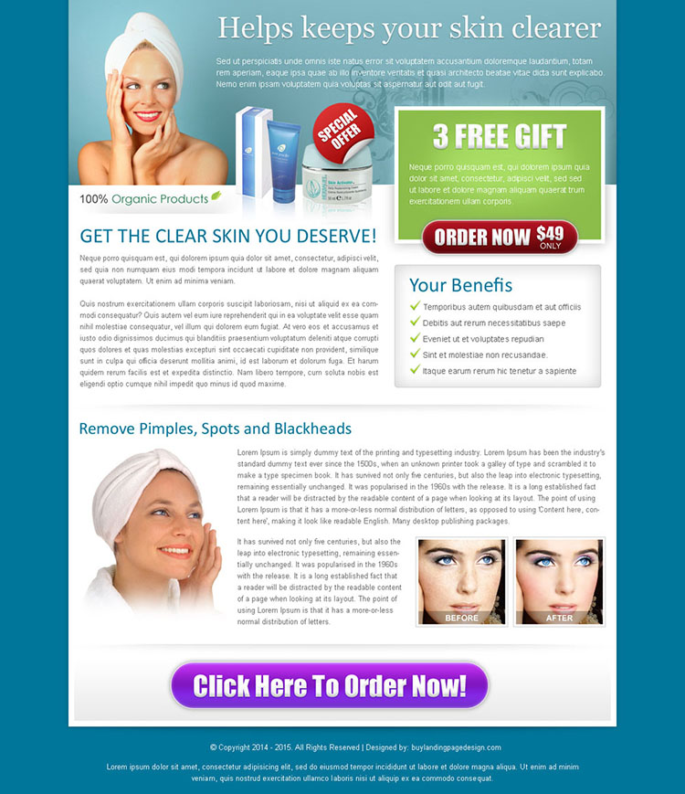 skin care product review call to action landing page design for sale