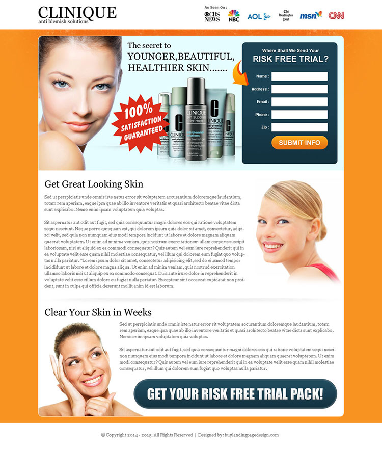 promote your skin care product with our skin care product landing page template