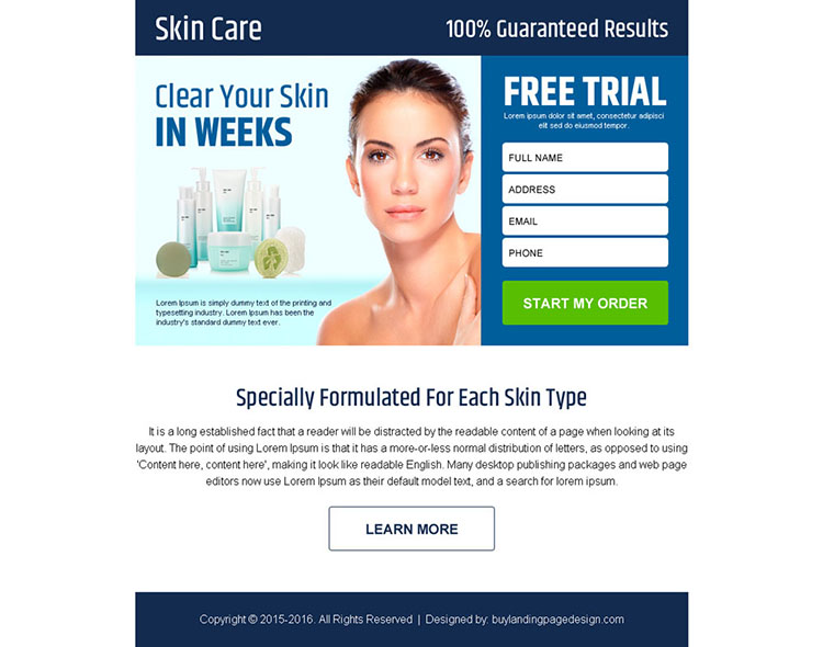 skin care product free trial lead gen ppv landing page