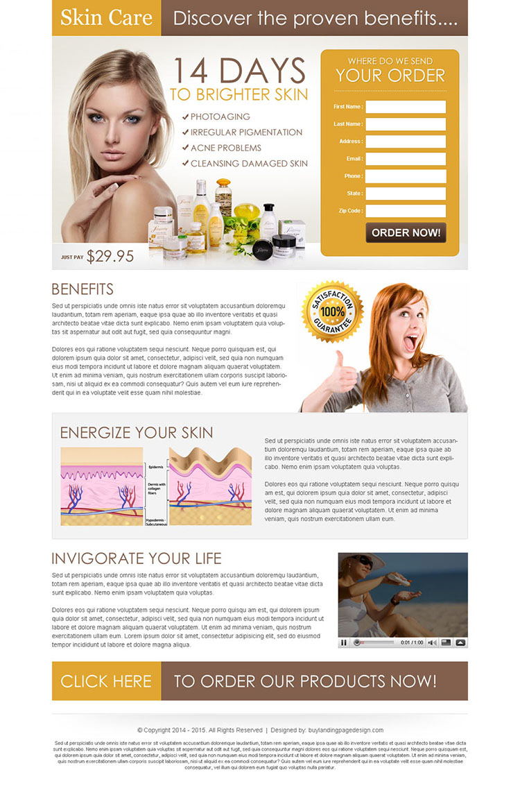 brighter skin care product most effective and converting landing page design to increase your sales and leads