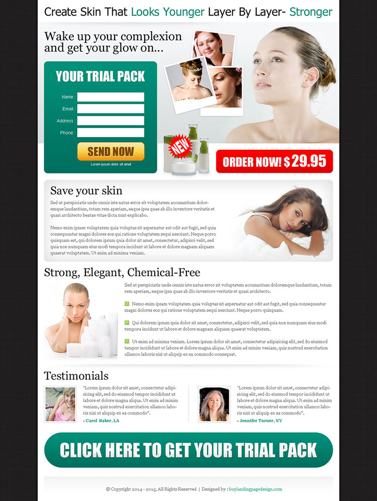 wake up your complexion and get the glow on trial pack landing page design