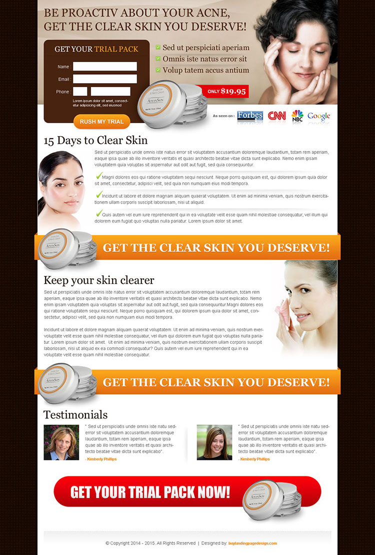 clear skin you deserve trial pack small lead capture landing page template