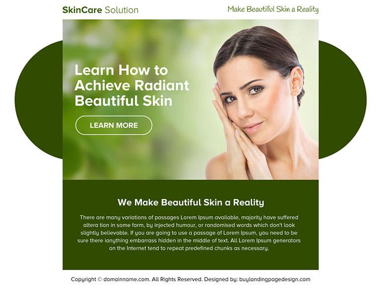 skin care solution ppv landing page design