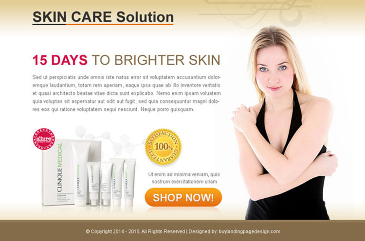 skin care product solution buy now lead capture ppv landing page