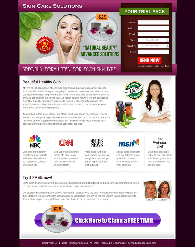 natural beauty advance solution landing page design