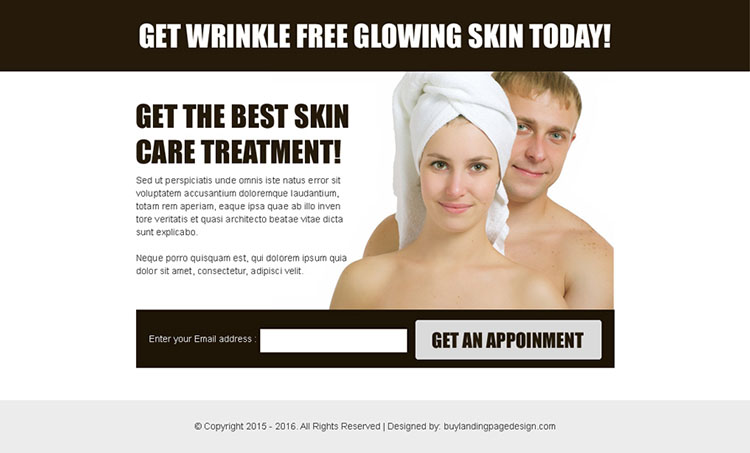 skin care treatment converting lead gen ppv landing page template