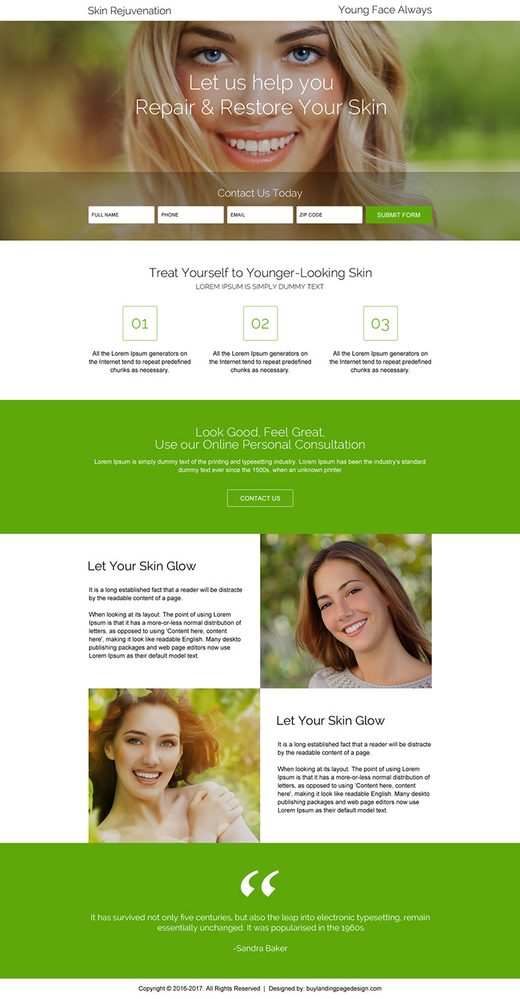 skin rejuvenation treatment landing page design