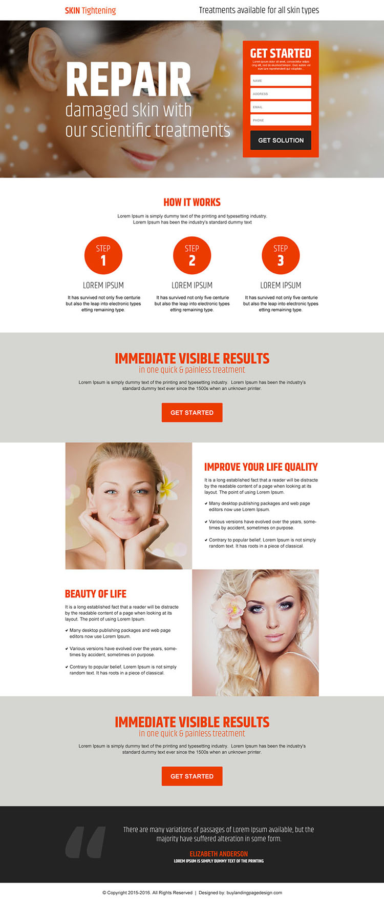 skin tightening and rejuvenating lead gen responsive landing page