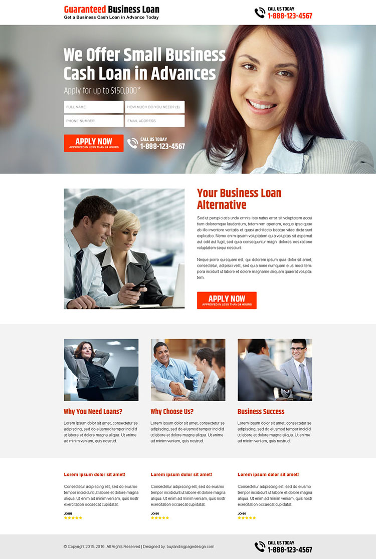 small business cash loan in advance lead capture landing page design