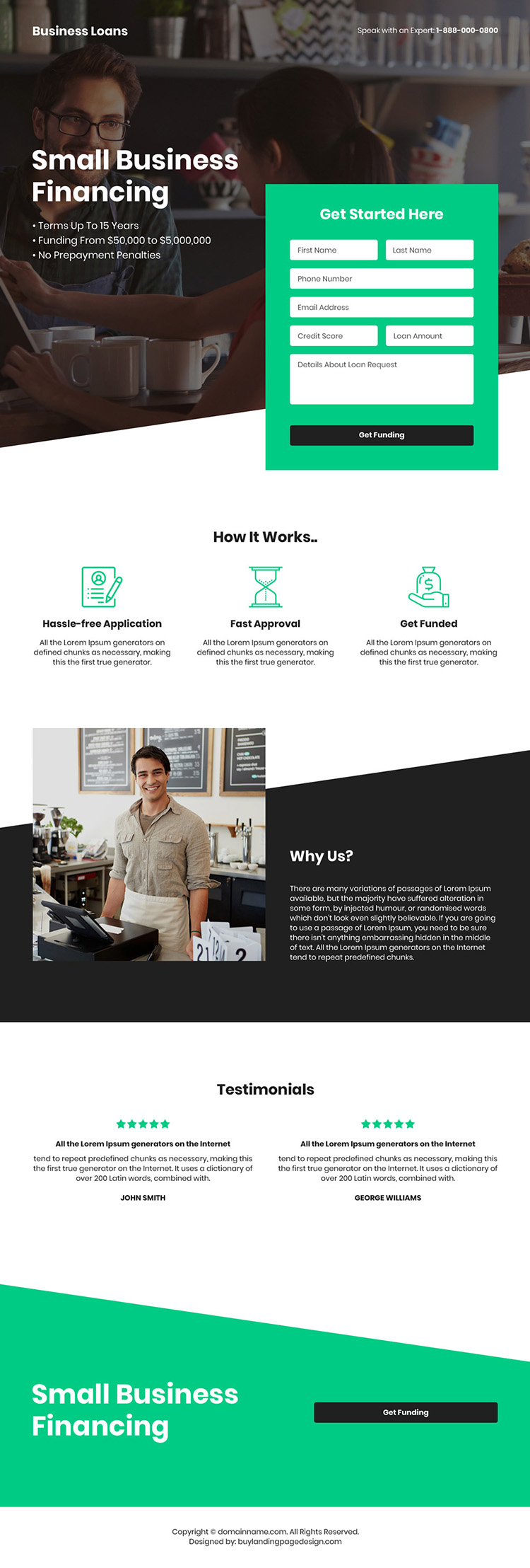 small business funding bootstrap landing page design