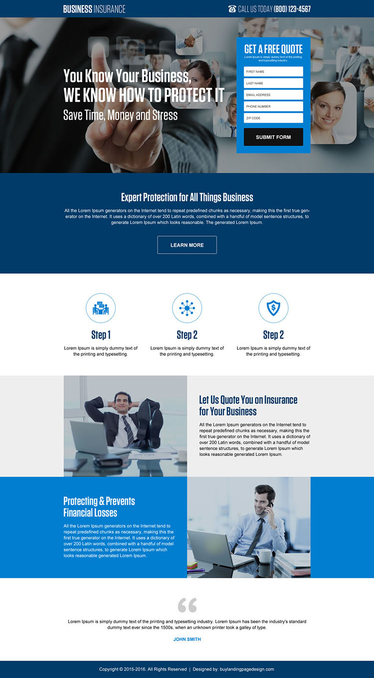 professional business insurance free quote landing page