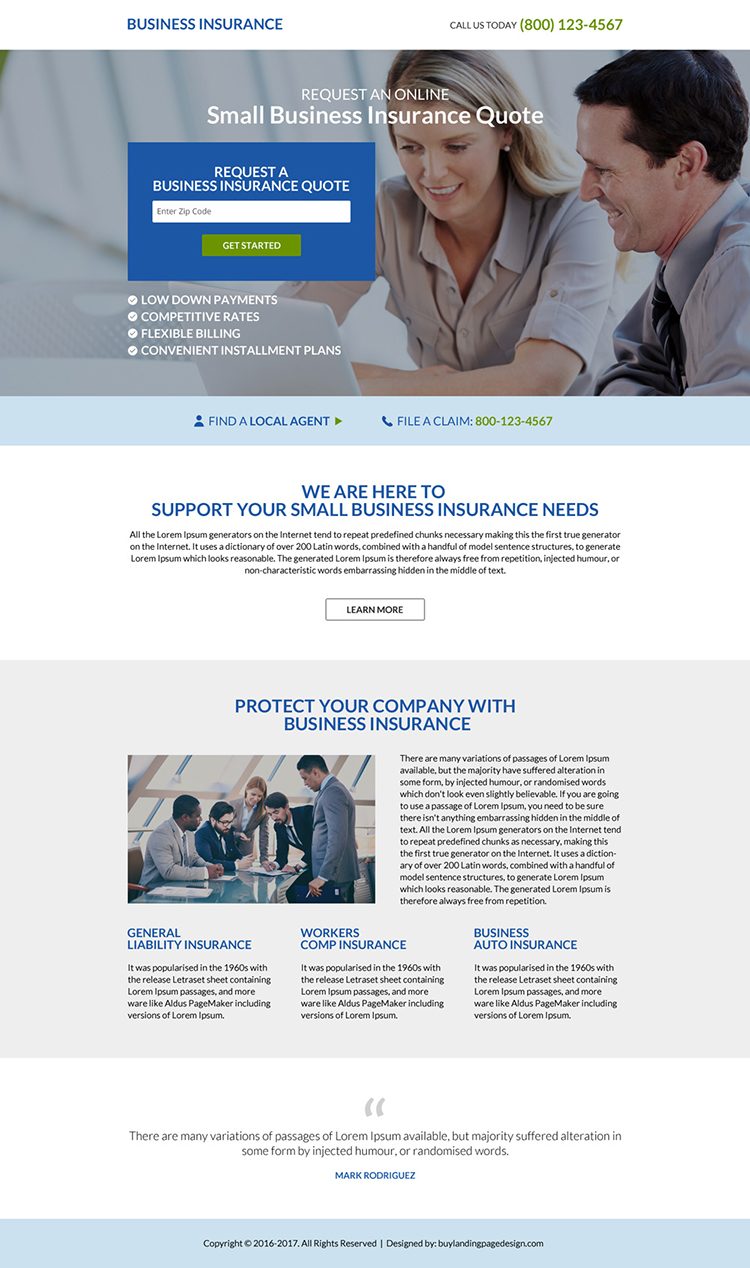 responsive business insurance minimal landing page