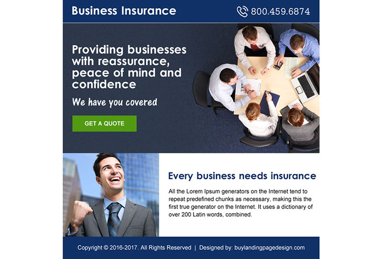 small business insurance free quote ppv landing page design
