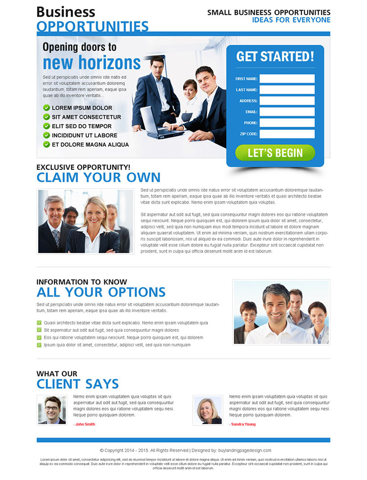 small business opportunities clean and user friendly lead gen page design