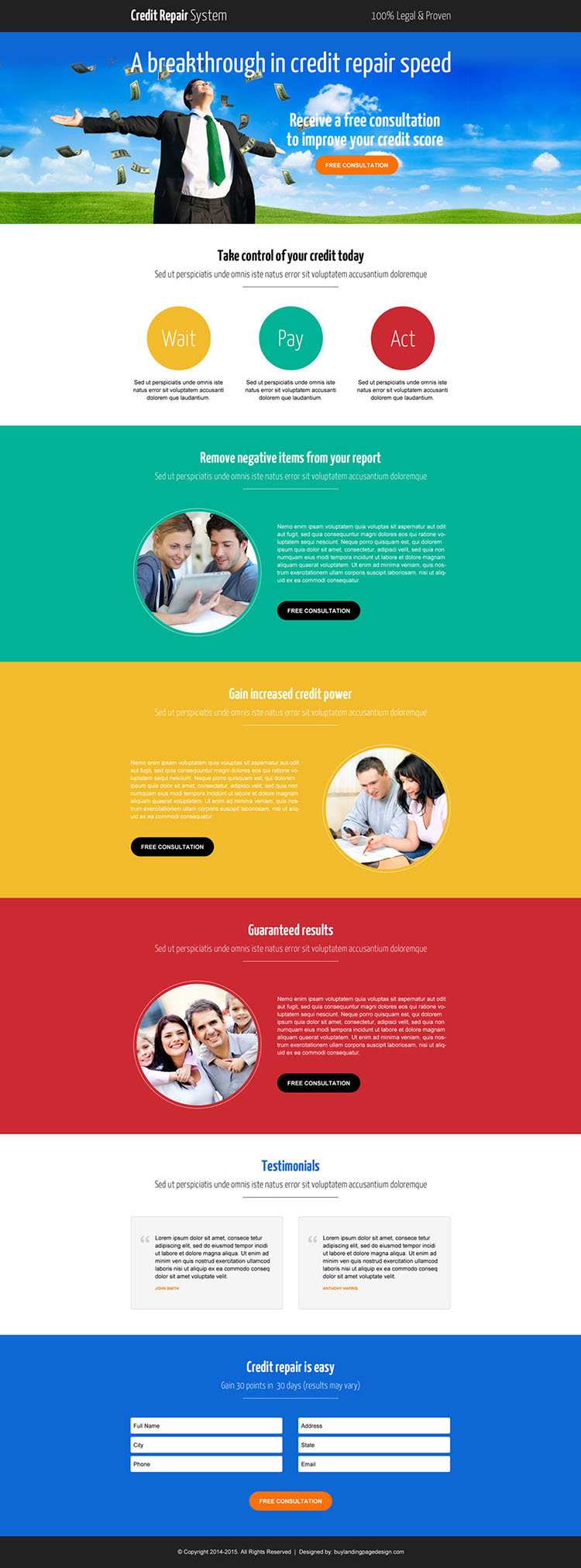 smart credit repair consultation call to action landing page design