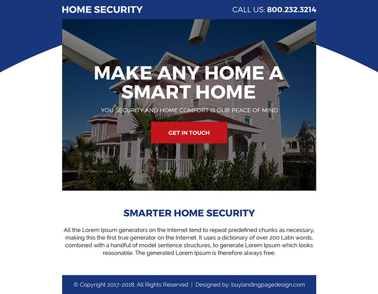 smarter home security call to action ppv landing page design