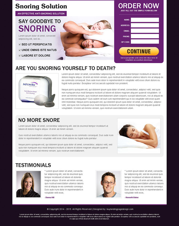 say goodbye to snoring effective and appealing anti snoring product order now landing page design