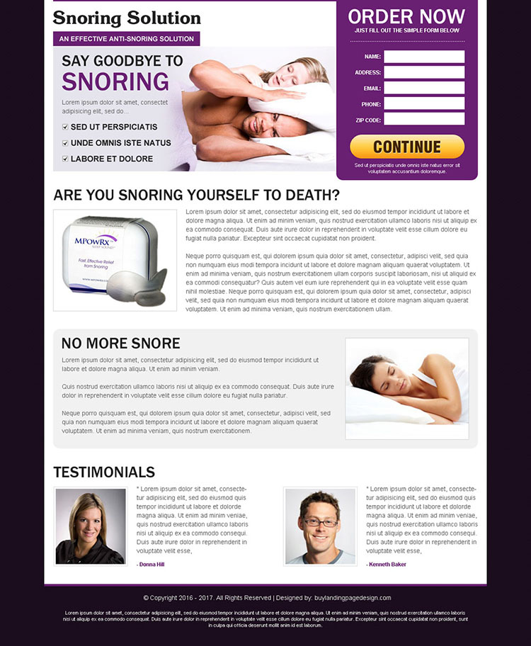 anti snoring solutions product responsive landing page