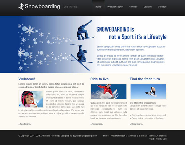 snowboarding clean and professional website template design psd