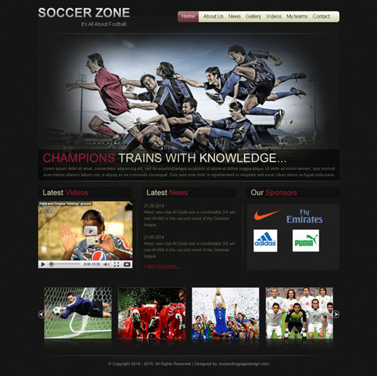 soccer sports appealing and converting website template design psd