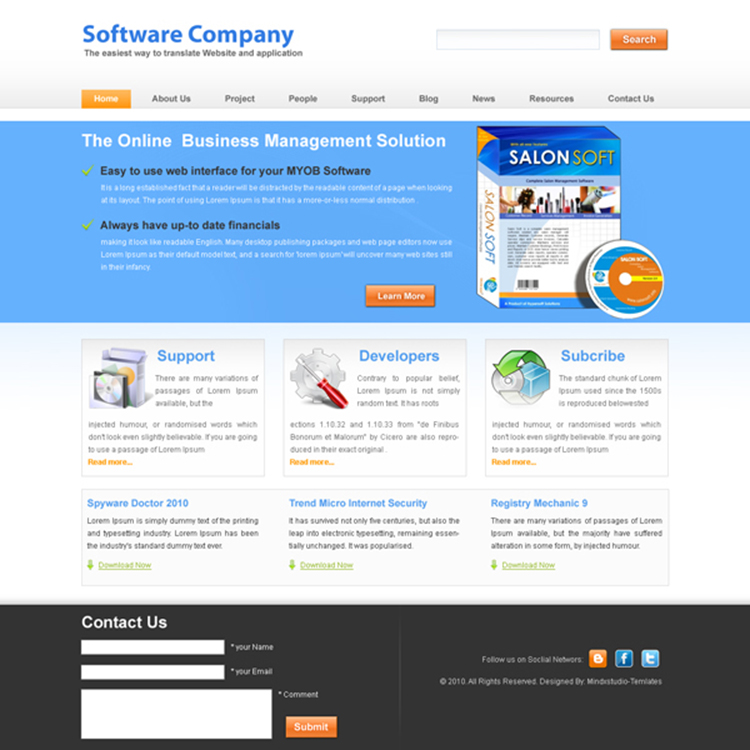 software-company-website-template-006 | Website Template PSD sale ...