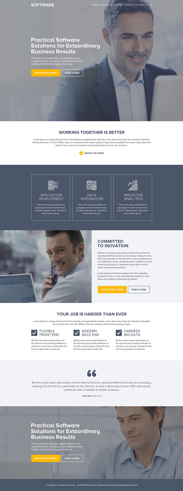 software solution for business responsive landing page