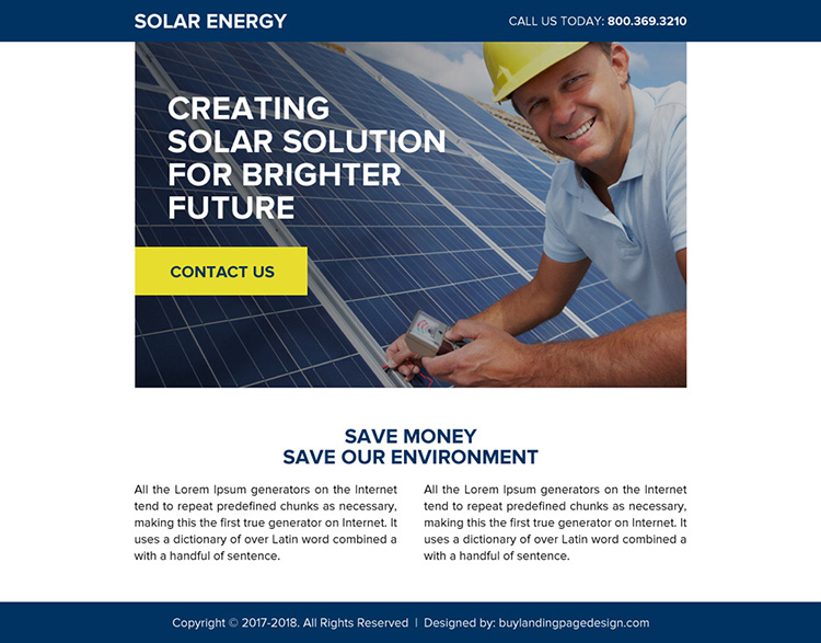 solar energy ppv landing page design template