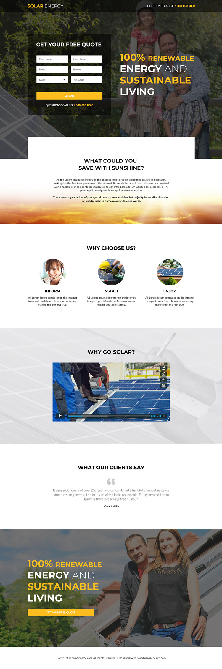 solar panels and solar suppliers responsive landing page